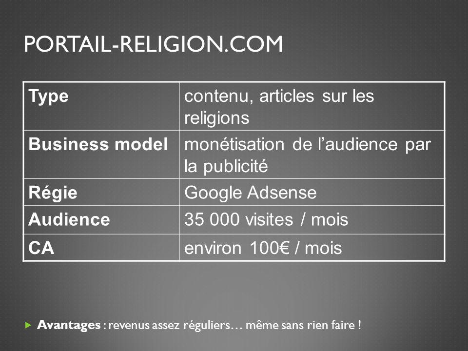 PORTAIL-RELIGION.COM Avantages : revenus assez réguliers… même sans rien faire .