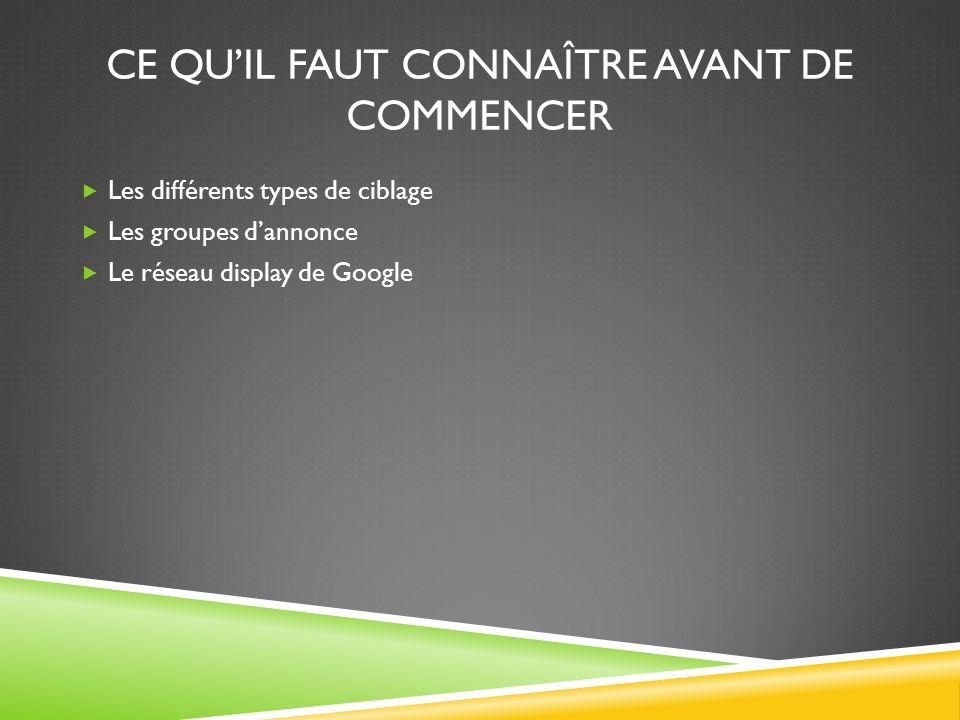 CE QUIL FAUT CONNAÎTRE AVANT DE COMMENCER Les différents types de ciblage Les groupes dannonce Le réseau display de Google