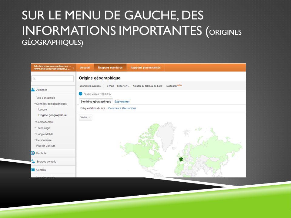 SUR LE MENU DE GAUCHE, DES INFORMATIONS IMPORTANTES ( ORIGINES GÉOGRAPHIQUES)