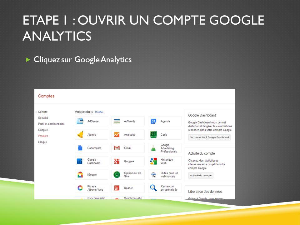 ETAPE 1 : OUVRIR UN COMPTE GOOGLE ANALYTICS Cliquez sur Google Analytics