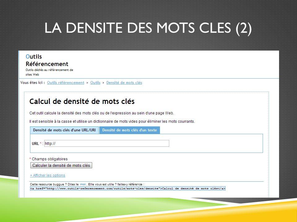 LA DENSITE DES MOTS CLES (2)