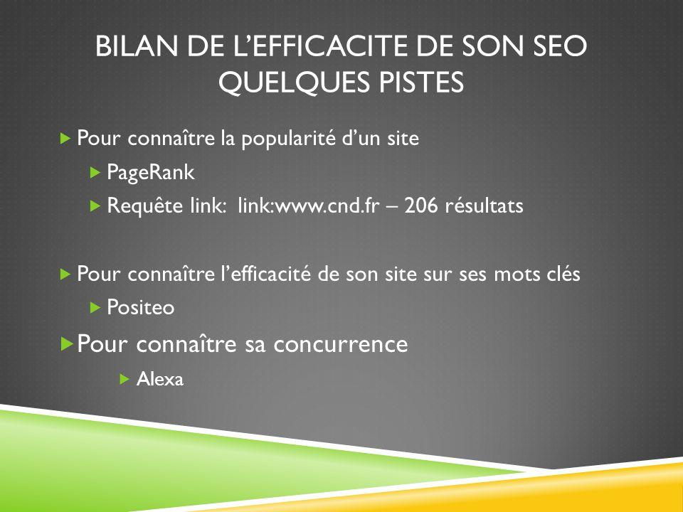 BILAN DE LEFFICACITE DE SON SEO QUELQUES PISTES Pour connaître la popularité dun site PageRank Requête link: link:www.cnd.fr – 206 résultats Pour conn