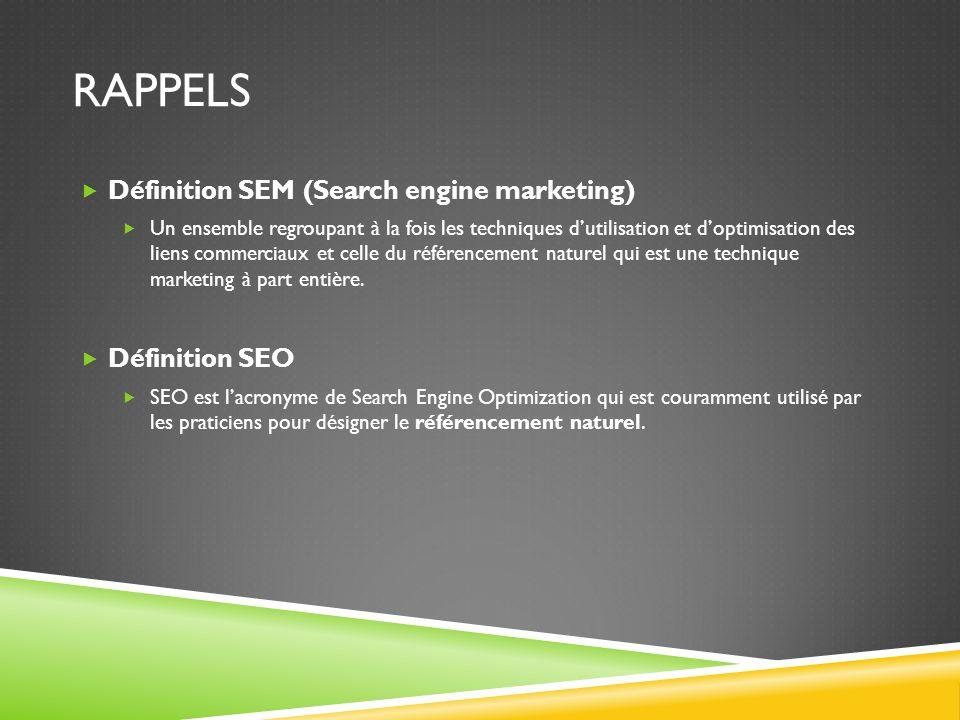 RAPPELS Définition SEM (Search engine marketing) Un ensemble regroupant à la fois les techniques dutilisation et doptimisation des liens commerciaux e