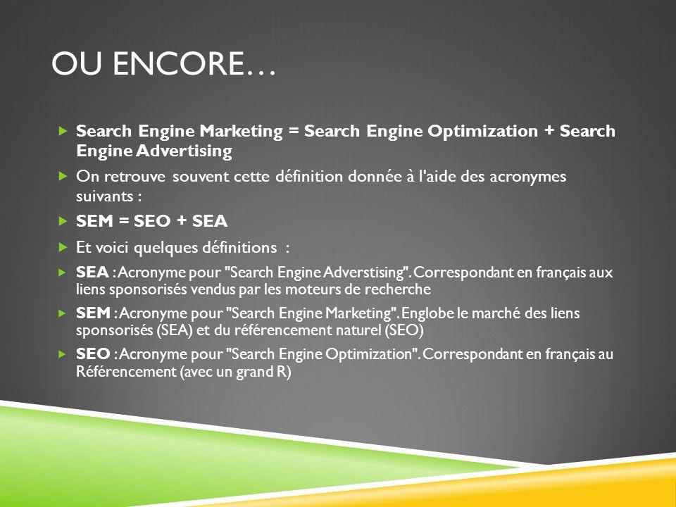 OU ENCORE… Search Engine Marketing = Search Engine Optimization + Search Engine Advertising On retrouve souvent cette définition donnée à l'aide des a