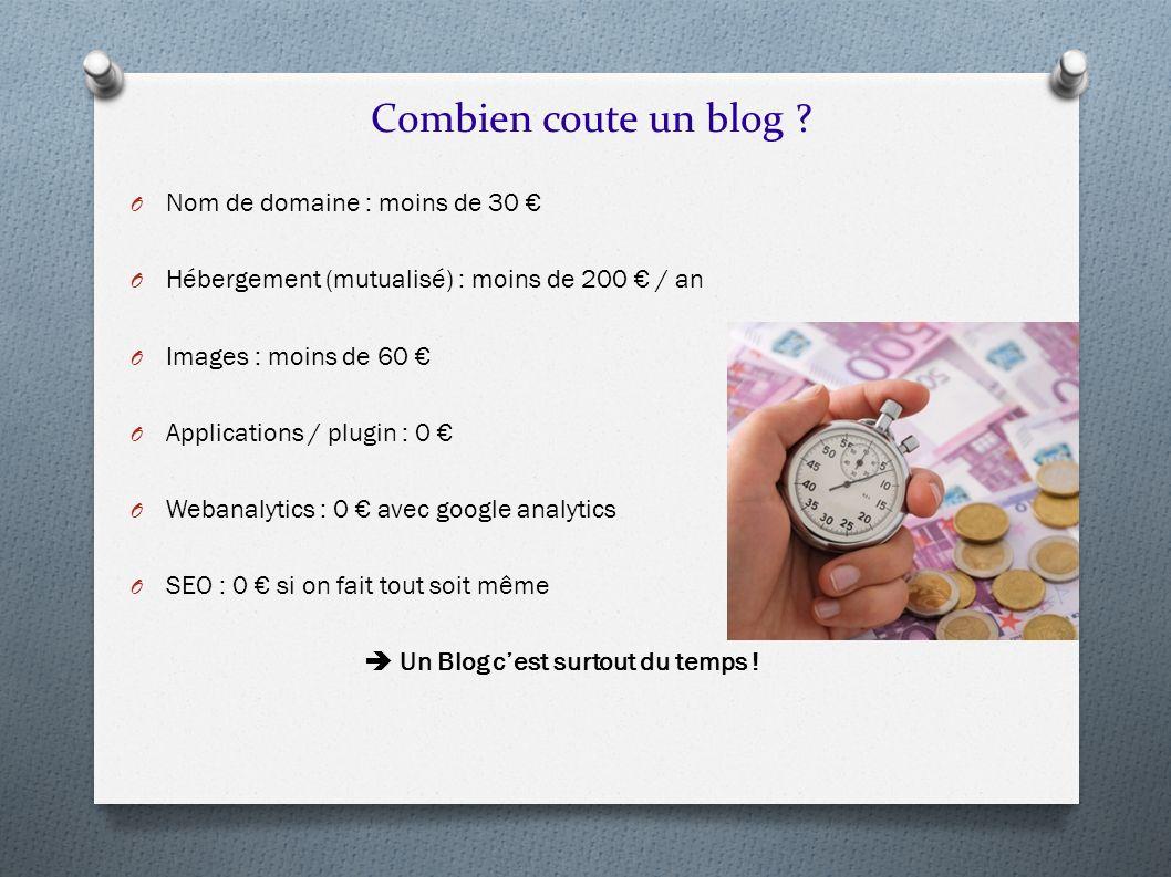 Combien coute un blog ? O Nom de domaine : moins de 30 O Hébergement (mutualisé) : moins de 200 / an O Images : moins de 60 O Applications / plugin :