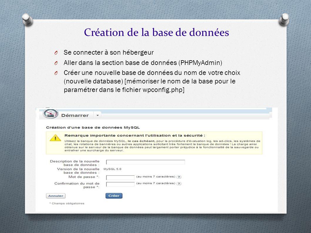 Création de la base de données O Se connecter à son hébergeur O Aller dans la section base de données (PHPMyAdmin) O Créer une nouvelle base de donnée