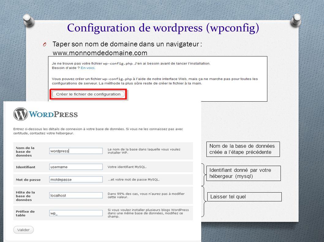 O Taper son nom de domaine dans un navigateur : www.monnomdedomaine.com Configuration de wordpress (wpconfig) Nom de la base de données créée a létape