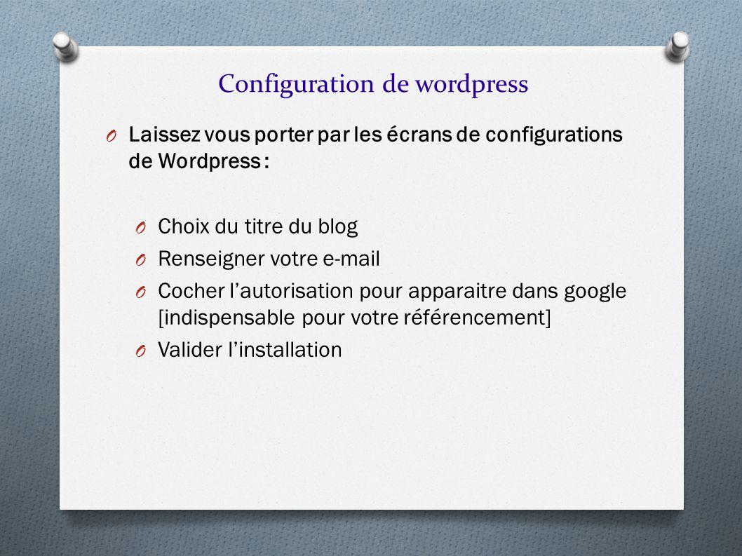 O Laissez vous porter par les écrans de configurations de Wordpress : O Choix du titre du blog O Renseigner votre e-mail O Cocher lautorisation pour a
