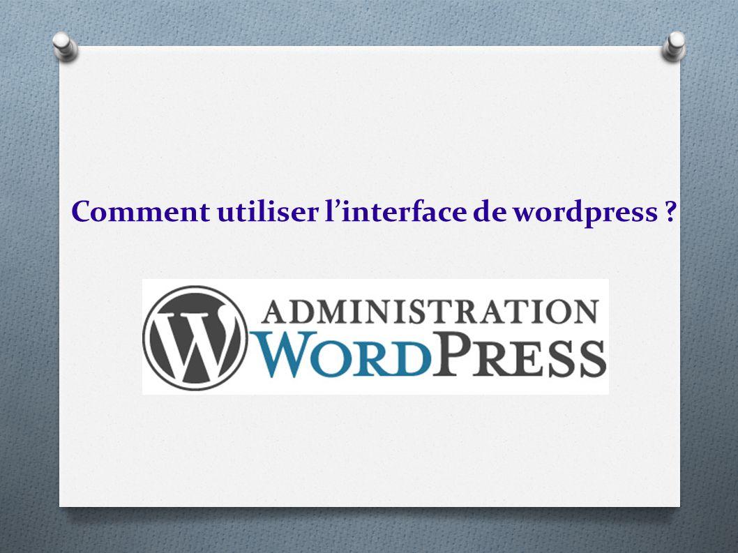 Comment utiliser linterface de wordpress ?