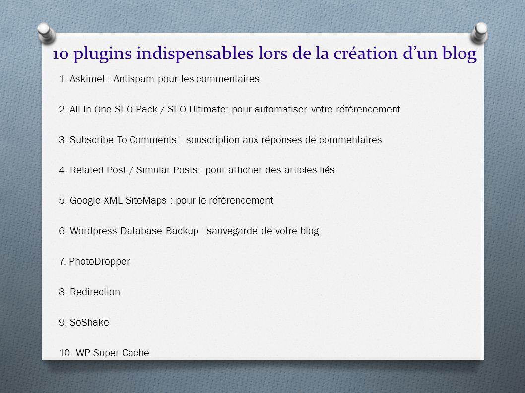 10 plugins indispensables lors de la création dun blog 1. Askimet : Antispam pour les commentaires 2. All In One SEO Pack / SEO Ultimate: pour automat