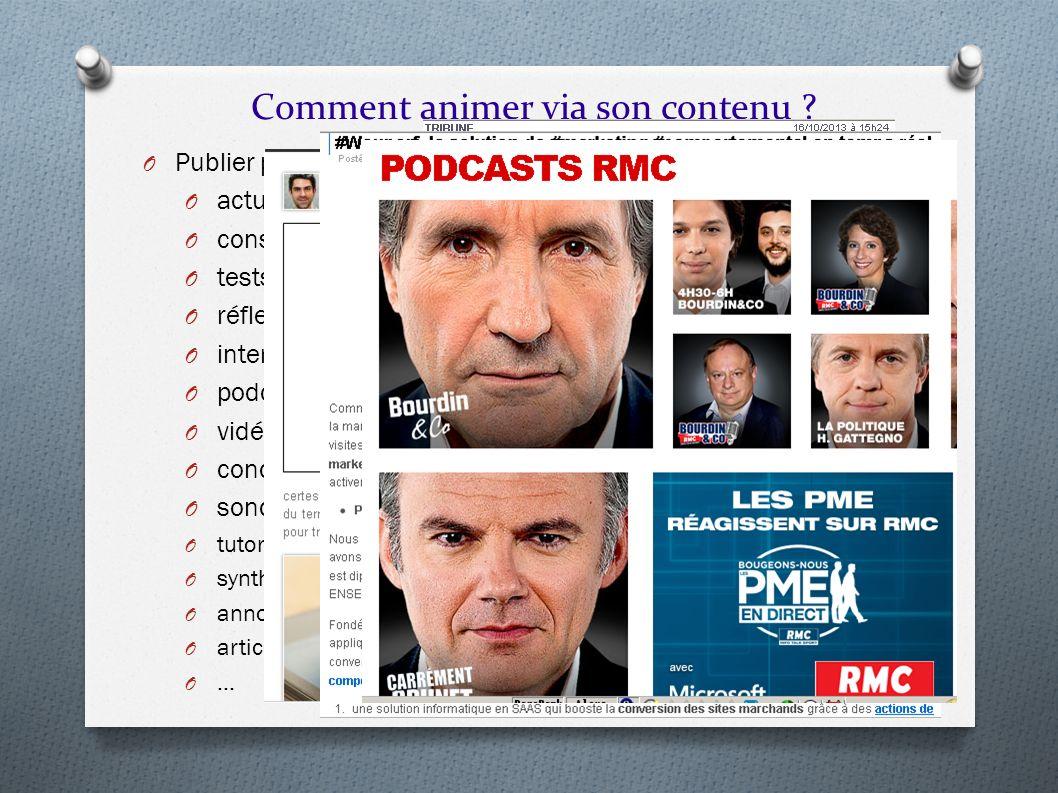 Comment animer via son contenu ? O Publier plusieurs types de contenu différents : O actualités, O conseils, O tests, O réflexion « personnelles », O