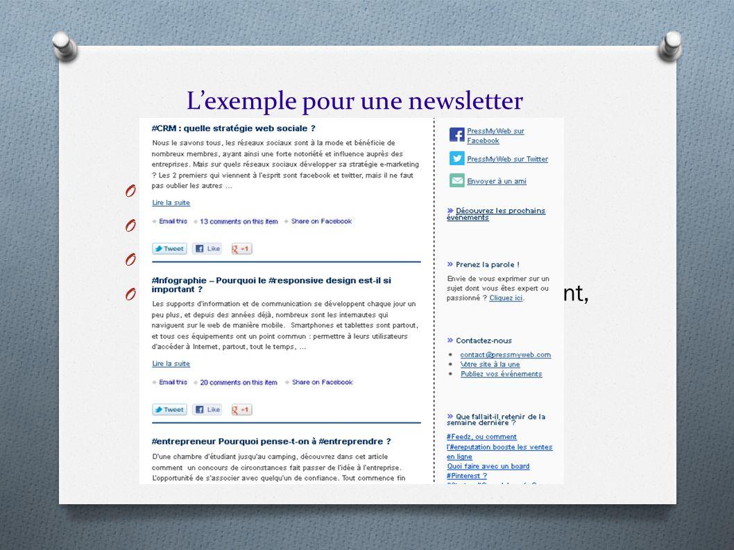 O Objet de la newsletter O Fréquence O Plusieurs types de newsletter O Le contenu de la newsletter (mise en avant, partenariats, publicité, sondage, …