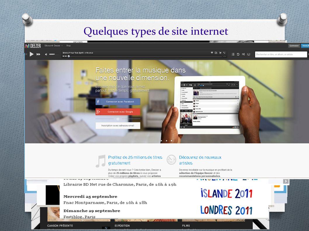 Quelques types de site internet Il existe plusieurs types de site web : portail, vitrine, contenu, forum, sites médias (tf1 : portail, social, vidéos,
