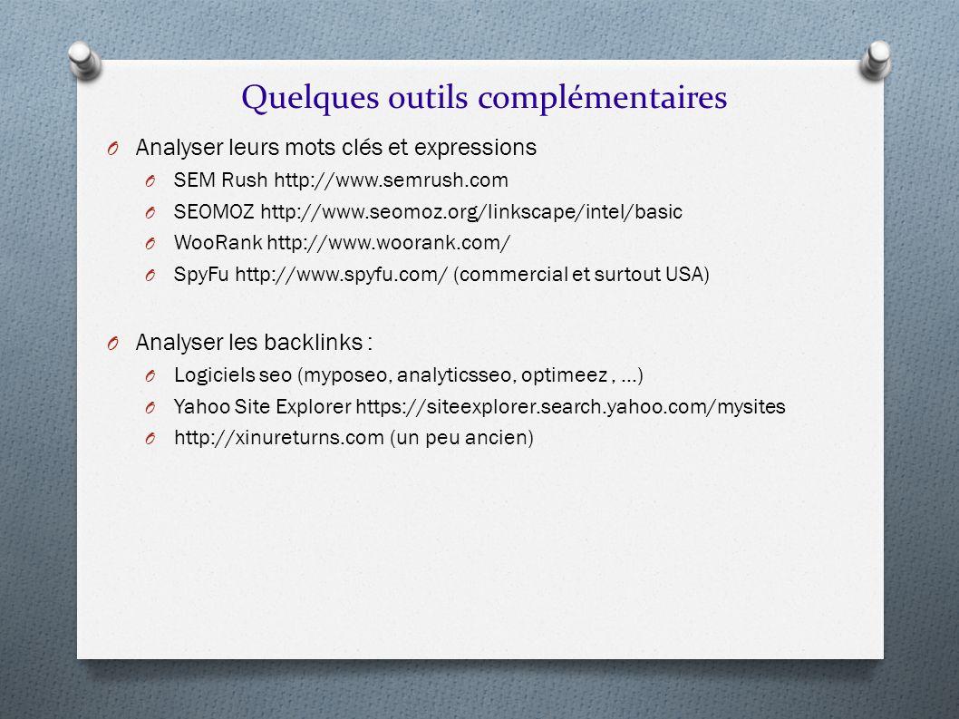 Quelques outils complémentaires O Analyser leurs mots clés et expressions O SEM Rush http://www.semrush.com O SEOMOZ http://www.seomoz.org/linkscape/i