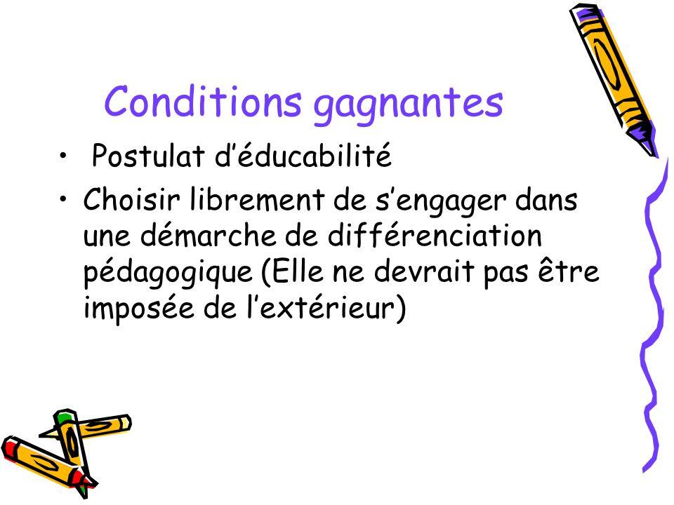Conditions gagnantes Postulat déducabilité Choisir librement de sengager dans une démarche de différenciation pédagogique (Elle ne devrait pas être imposée de lextérieur)