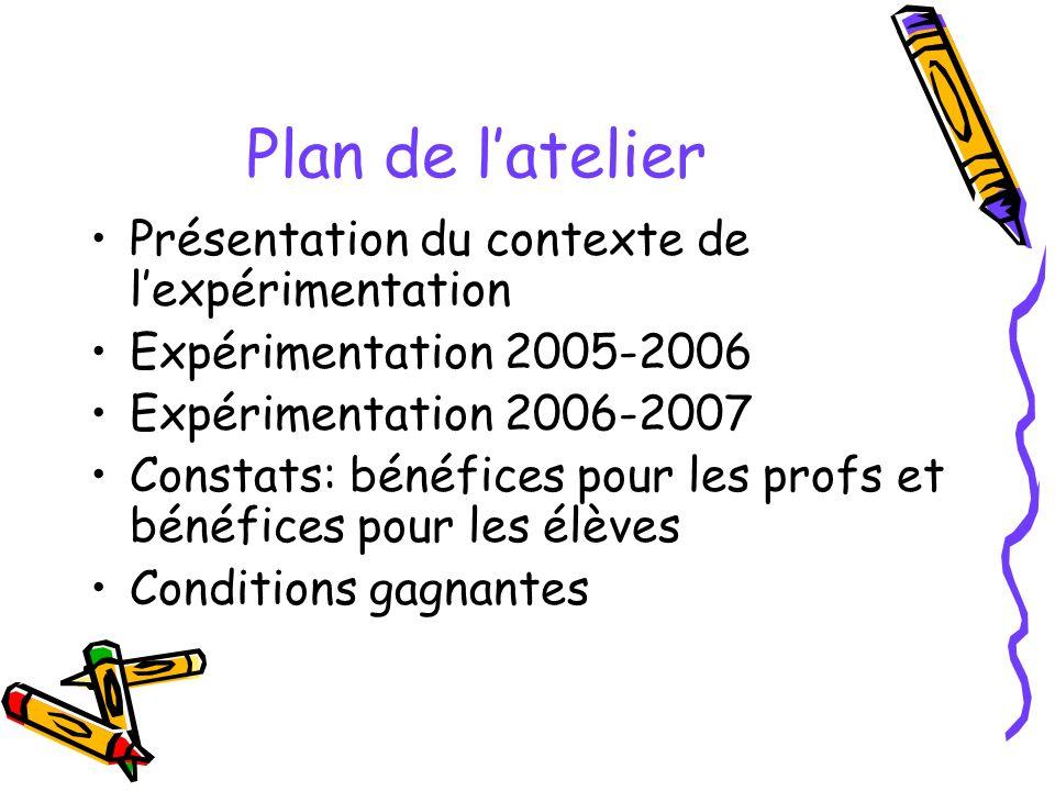 Plan de latelier Présentation du contexte de lexpérimentation Expérimentation 2005-2006 Expérimentation 2006-2007 Constats: bénéfices pour les profs et bénéfices pour les élèves Conditions gagnantes