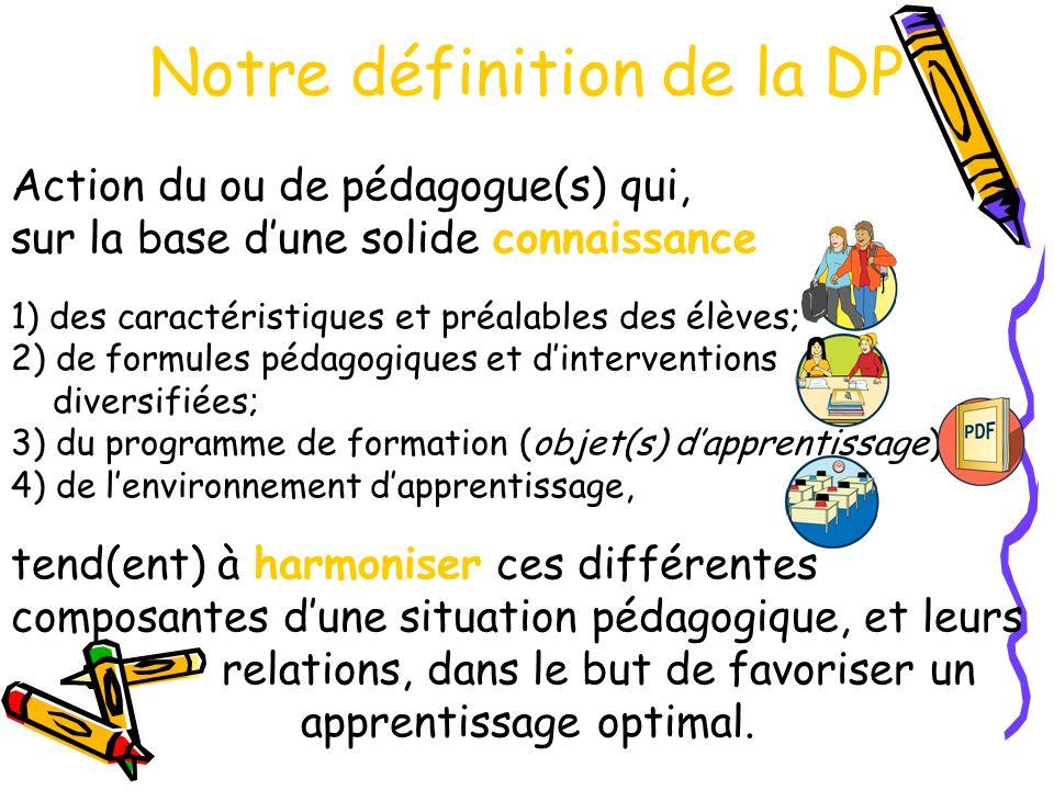 Notre définition de la DP Action du ou de pédagogue(s) qui, sur la base dune solide connaissance 1) des caractéristiques et préalables des élèves; 2) de formules pédagogiques et dinterventions diversifiées; 3) du programme de formation (objet(s) dapprentissage) et 4) de lenvironnement dapprentissage, tend(ent) à harmoniser ces différentes composantes dune situation pédagogique, et leurs relations, dans le but de favoriser un apprentissage optimal.