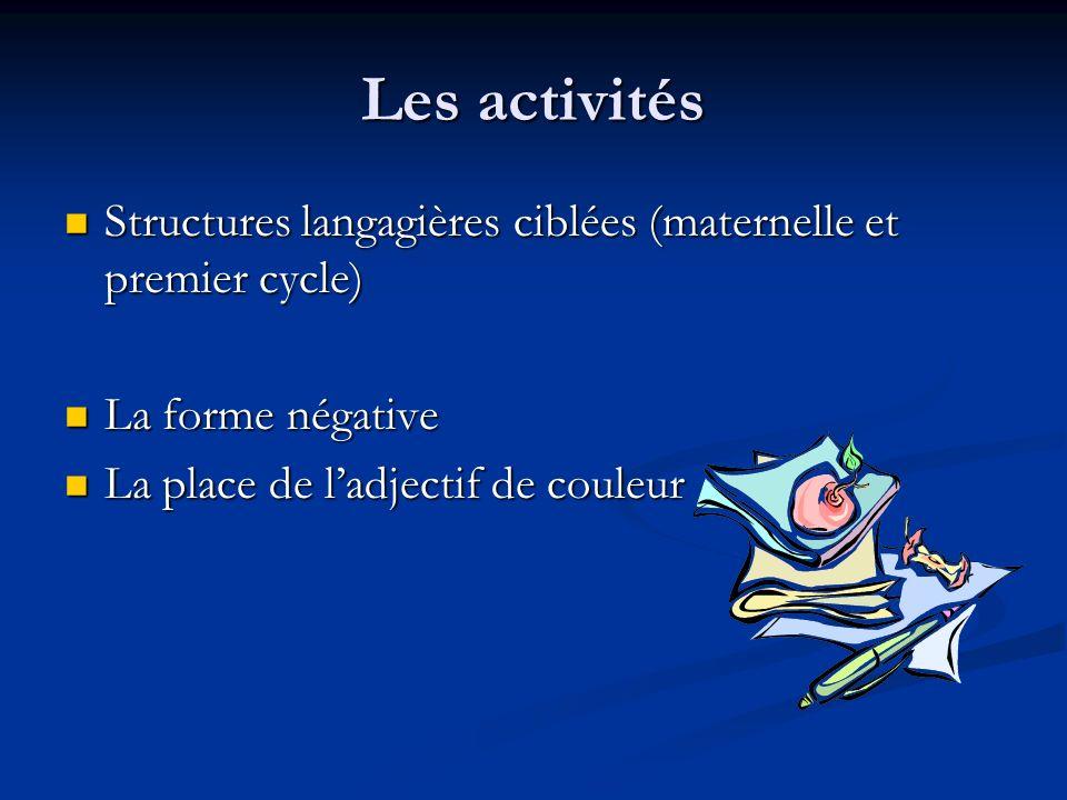 Les élèves anglophones ciblés amélioreront leurs compétences au niveau des structures langagières et leur bagage de vocabulaire en français afin de le