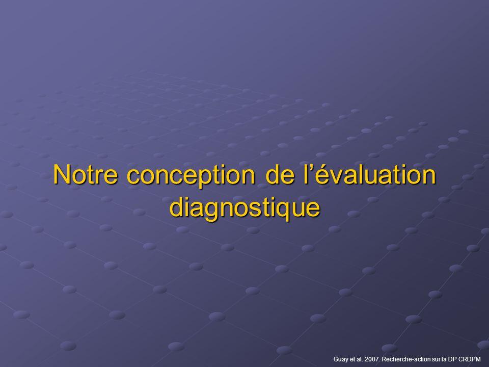 Notre conception de lévaluation diagnostique Guay et al. 2007. Recherche-action sur la DP CRDPM