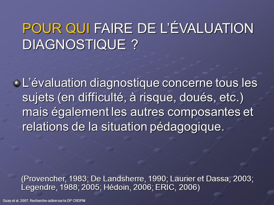 POUR QUI FAIRE DE LÉVALUATION DIAGNOSTIQUE ? Lévaluation diagnostique concerne tous les sujets (en difficulté, à risque, doués, etc.) mais également l