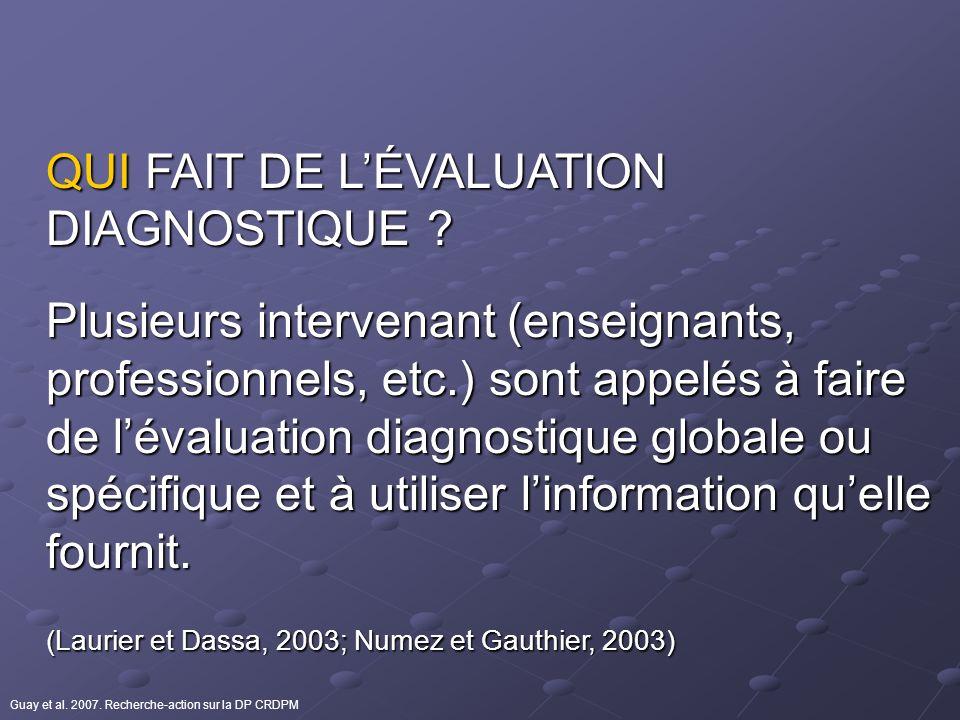 QUI FAIT DE LÉVALUATION DIAGNOSTIQUE ? Plusieurs intervenant (enseignants, professionnels, etc.) sont appelés à faire de lévaluation diagnostique glob