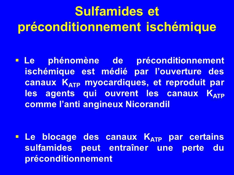 Sulfamides et préconditionnement ischémique Le phénomène de préconditionnement ischémique est médié par louverture des canaux K ATP myocardiques, et r