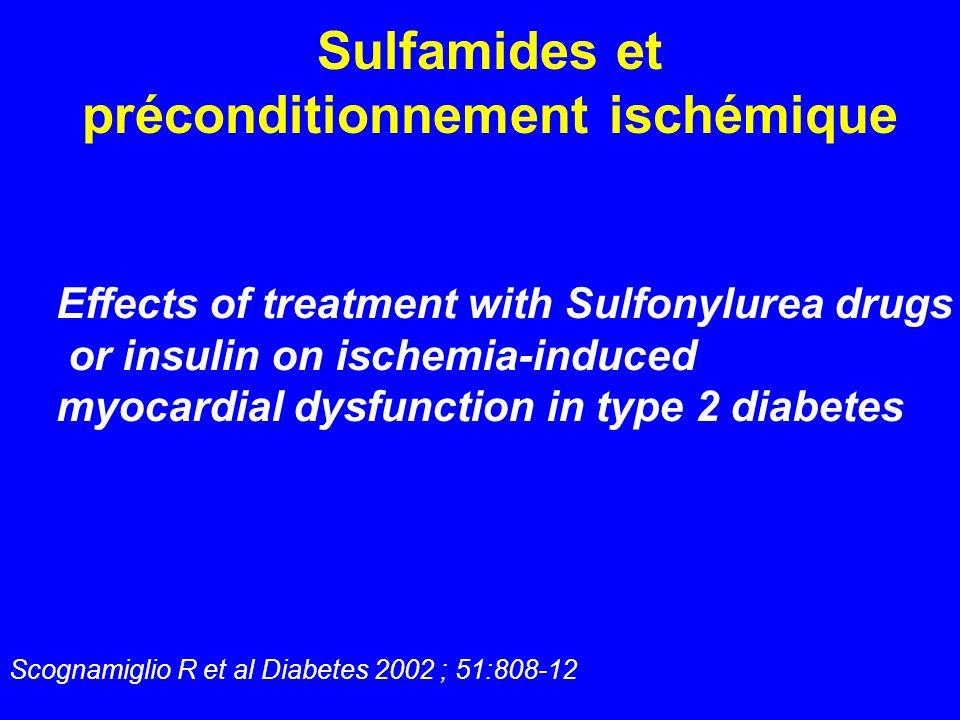 Sulfamides et préconditionnement ischémique Scognamiglio R et al Diabetes 2002 ; 51:808-12 Effects of treatment with Sulfonylurea drugs or insulin on