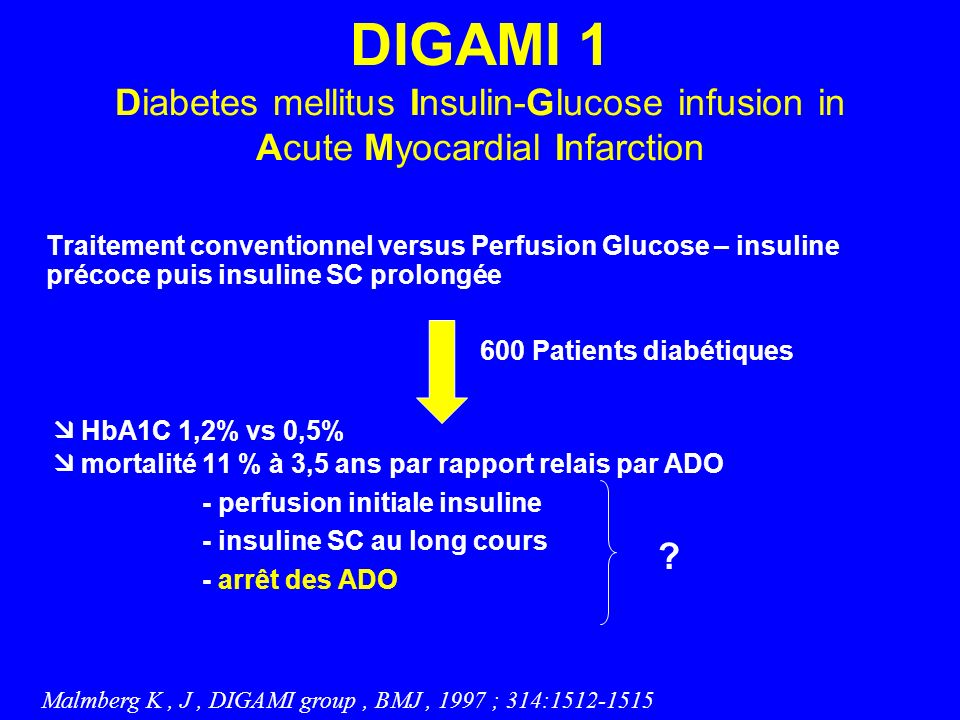 DIGAMI 1 Diabetes mellitus Insulin-Glucose infusion in Acute Myocardial Infarction Traitement conventionnel versus Perfusion Glucose – insuline précoc