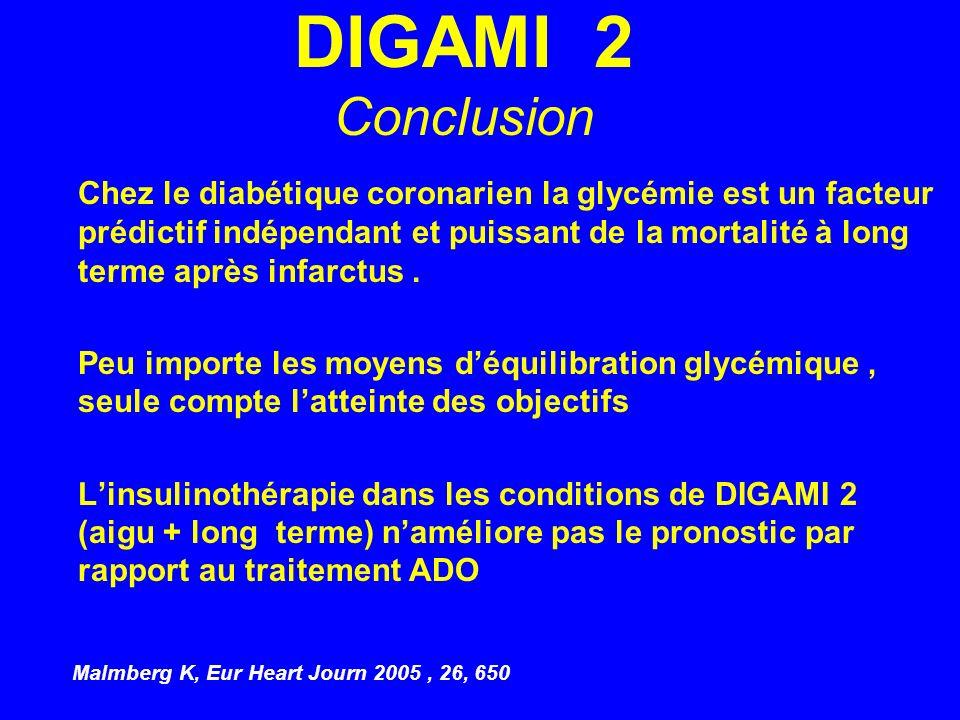 DIGAMI 2 Conclusion Chez le diabétique coronarien la glycémie est un facteur prédictif indépendant et puissant de la mortalité à long terme après infa