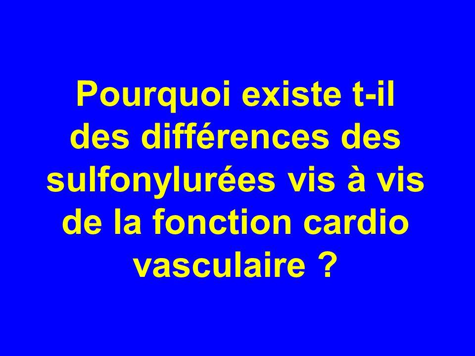 Pourquoi existe t-il des différences des sulfonylurées vis à vis de la fonction cardio vasculaire ?
