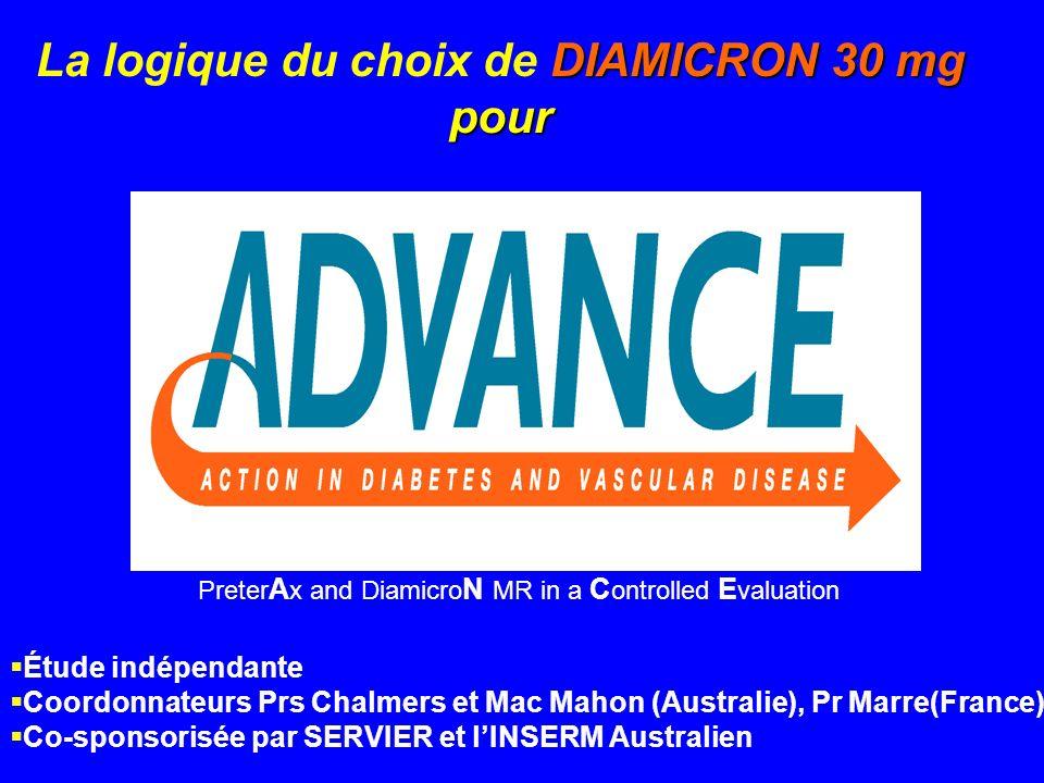 Preter A x and Diamicro N MR in a C ontrolled E valuation DIAMICRON 30 mg pour La logique du choix de DIAMICRON 30 mg pour Étude indépendante Coordonn