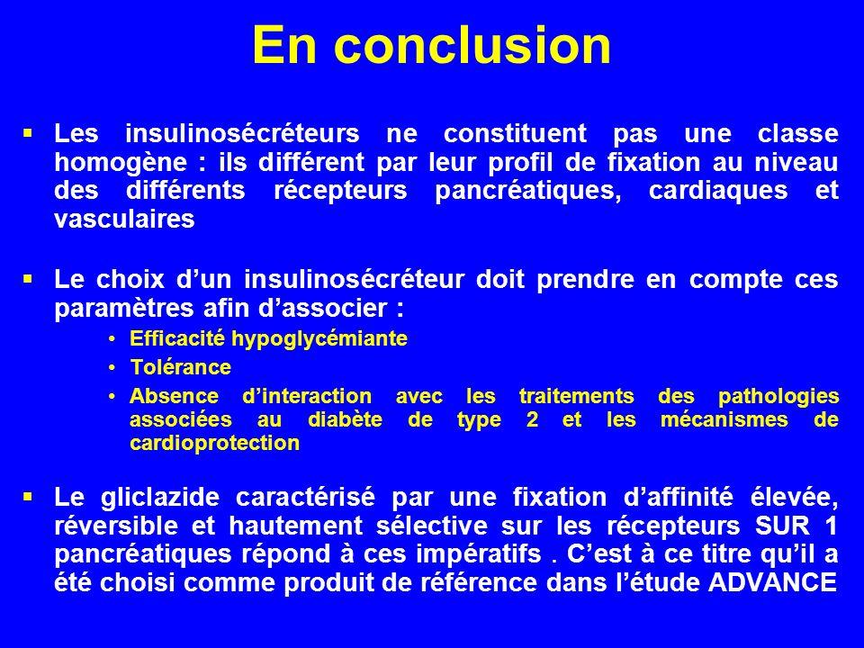 En conclusion Les insulinosécréteurs ne constituent pas une classe homogène : ils différent par leur profil de fixation au niveau des différents récep