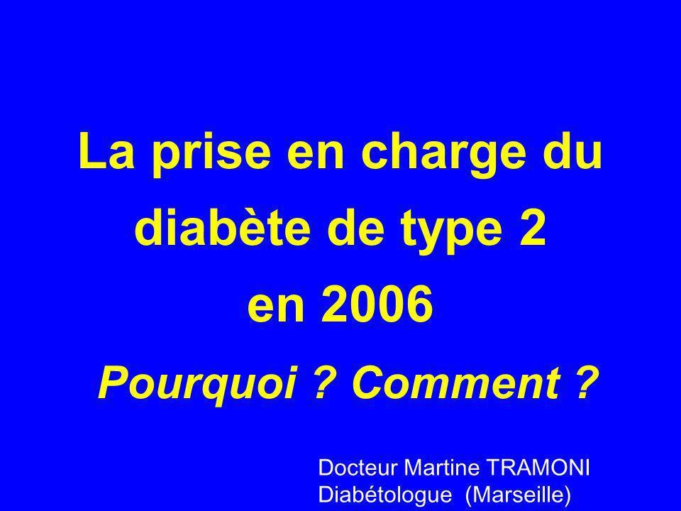 La prise en charge du diabète de type 2 en 2006 Pourquoi ? Comment ? Docteur Martine TRAMONI Diabétologue (Marseille)
