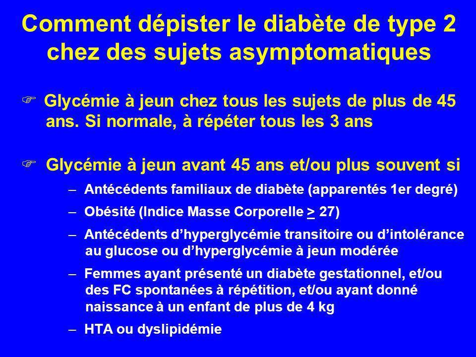 Comment dépister le diabète de type 2 chez des sujets asymptomatiques Glycémie à jeun chez tous les sujets de plus de 45 ans. Si normale, à répéter to