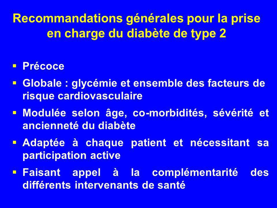 Recommandations générales pour la prise en charge du diabète de type 2 Précoce Globale : glycémie et ensemble des facteurs de risque cardiovasculaire