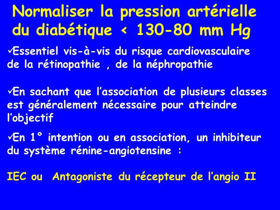 Essentiel vis-à-vis du risque cardiovasculaire de la rétinopathie, de la néphropathie En sachant que lassociation de plusieurs classes est généralemen