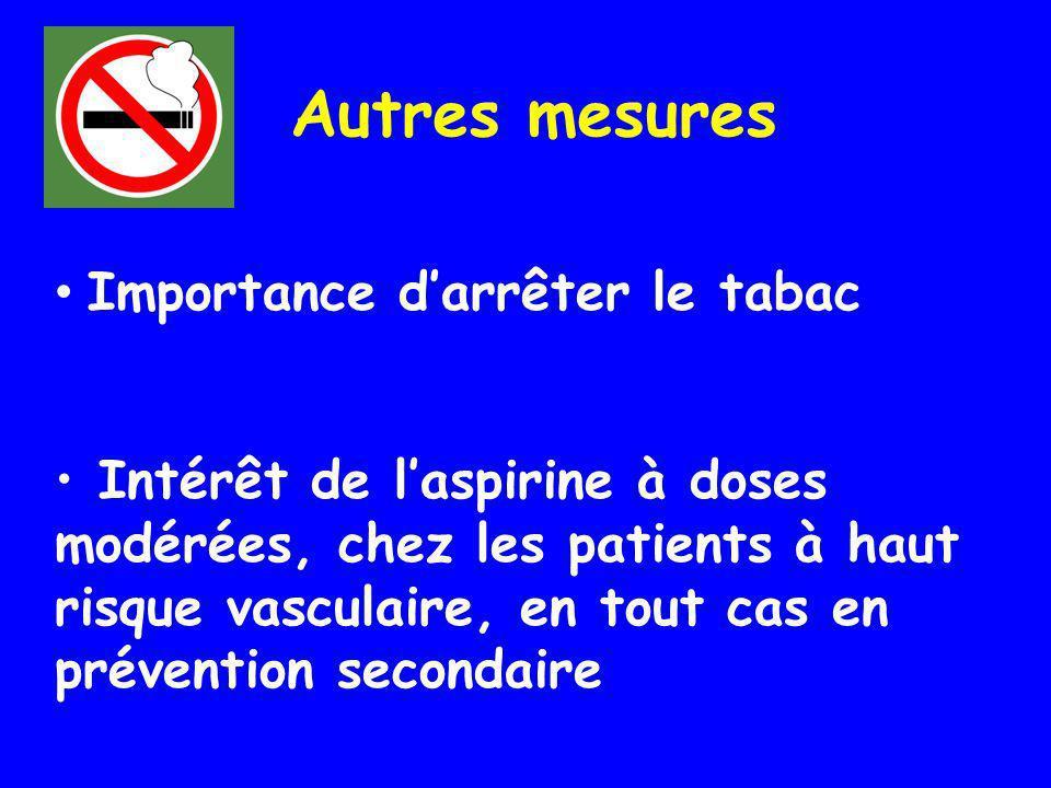 Importance darrêter le tabac Intérêt de laspirine à doses modérées, chez les patients à haut risque vasculaire, en tout cas en prévention secondaire P