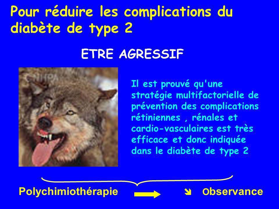 Pour réduire les complications du diabète de type 2 ETRE AGRESSIF Il est prouvé qu'une stratégie multifactorielle de prévention des complications réti
