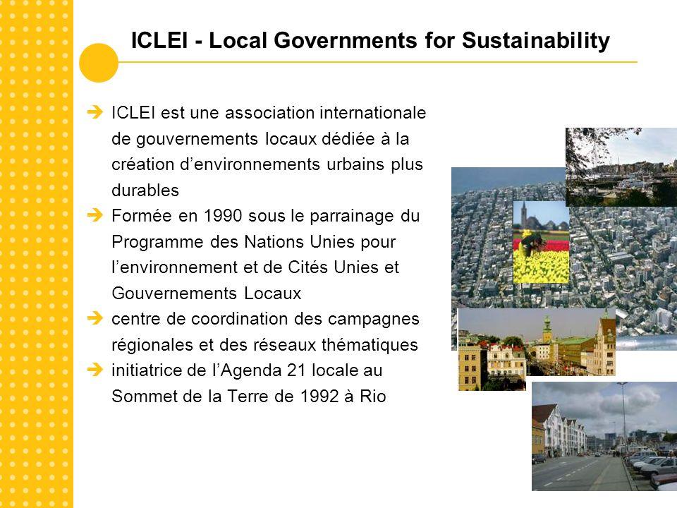 ICLEI est une association internationale de gouvernements locaux dédiée à la création denvironnements urbains plus durables Formée en 1990 sous le parrainage du Programme des Nations Unies pour lenvironnement et de Cités Unies et Gouvernements Locaux centre de coordination des campagnes régionales et des réseaux thématiques initiatrice de lAgenda 21 locale au Sommet de la Terre de 1992 à Rio ICLEI - Local Governments for Sustainability
