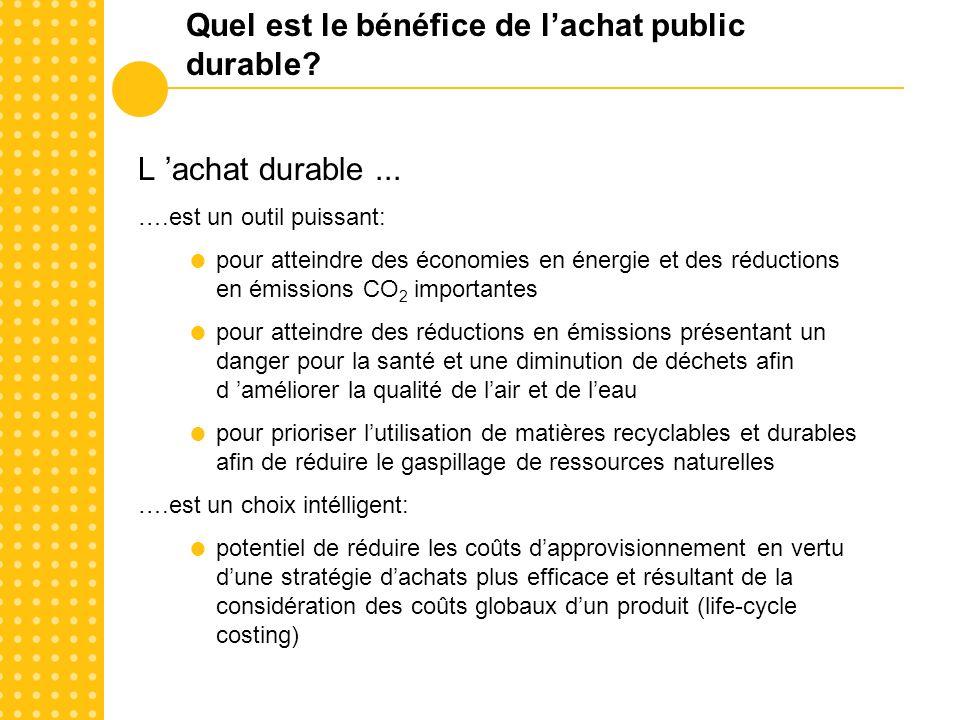 Quel est le bénéfice de lachat public durable.Lachat public durable...