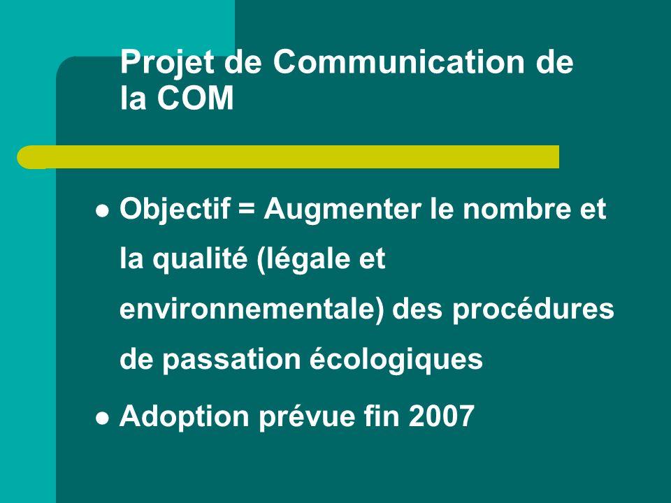 Projet de Communication de la COM Objectif = Augmenter le nombre et la qualité (légale et environnementale) des procédures de passation écologiques Ad