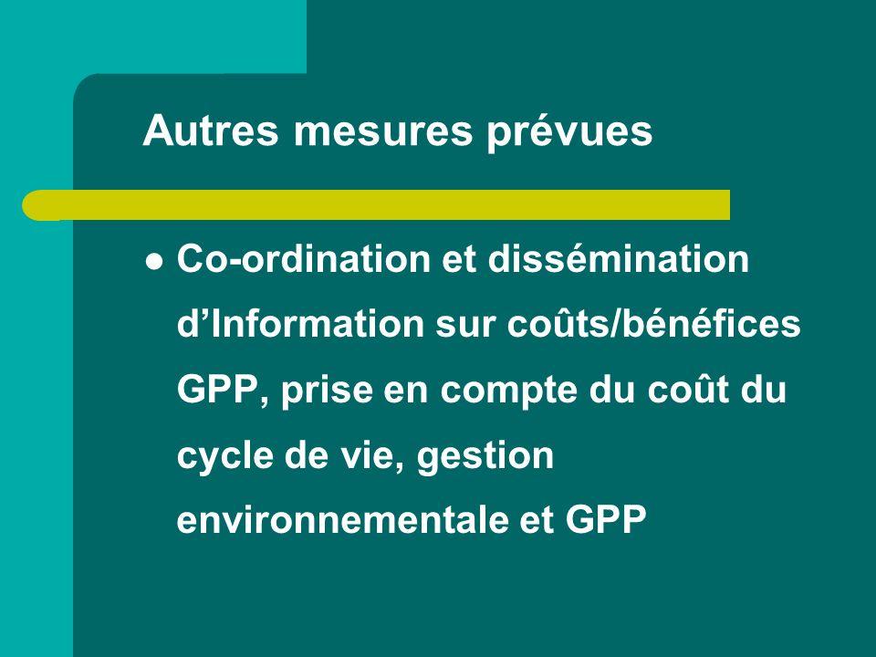 Autres mesures prévues Co-ordination et dissémination dInformation sur coûts/bénéfices GPP, prise en compte du coût du cycle de vie, gestion environne