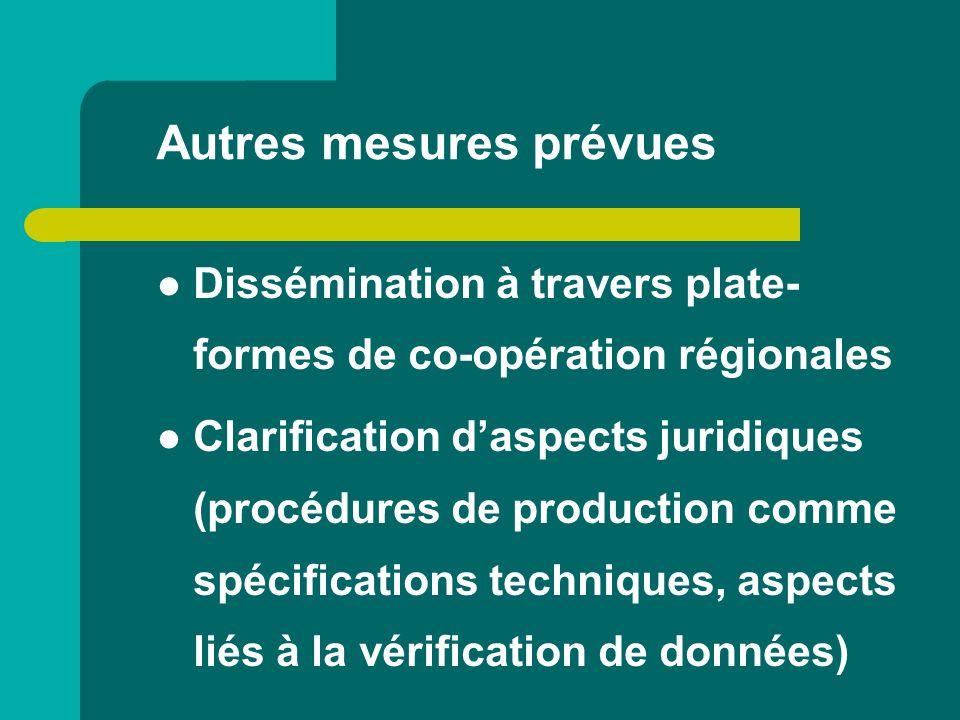 Autres mesures prévues Dissémination à travers plate- formes de co-opération régionales Clarification daspects juridiques (procédures de production co