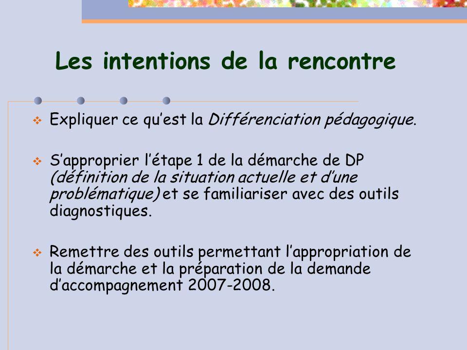 La définition de la DP Actions des pédagogues basées sur de bonnes connaissances des points suivants: 1) caractéristiques et préalables des élèves; 2) formules pédagogiques et dinterventions diversifiées; 3) programme de formation; 4) environnement dapprentissage.
