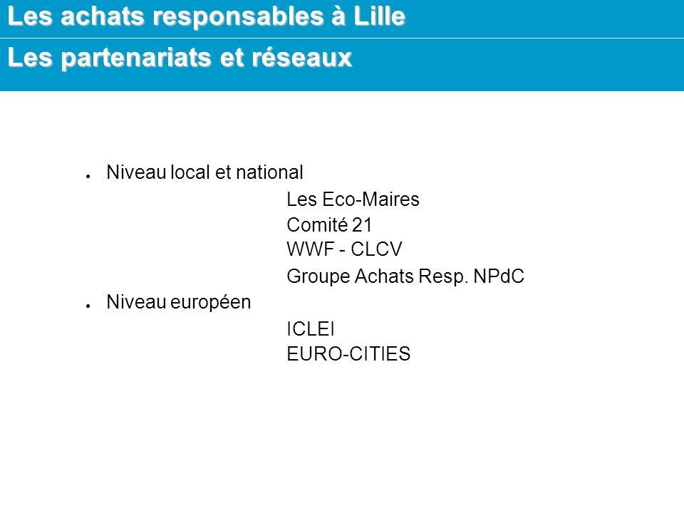 Les achats responsables à Lille Les partenariats et réseaux Niveau local et national Les Eco-Maires Comité 21 WWF - CLCV Groupe Achats Resp.