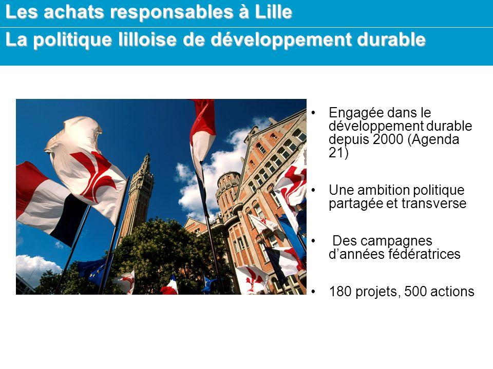 Les achats responsables à Lille La politique lilloise de développement durable Objectifs : –Développer une culture partagée –Aménager la ville –Gérer et préserver la ville –Développer une ville solidaire –Développer une ville ouverte sur le Monde