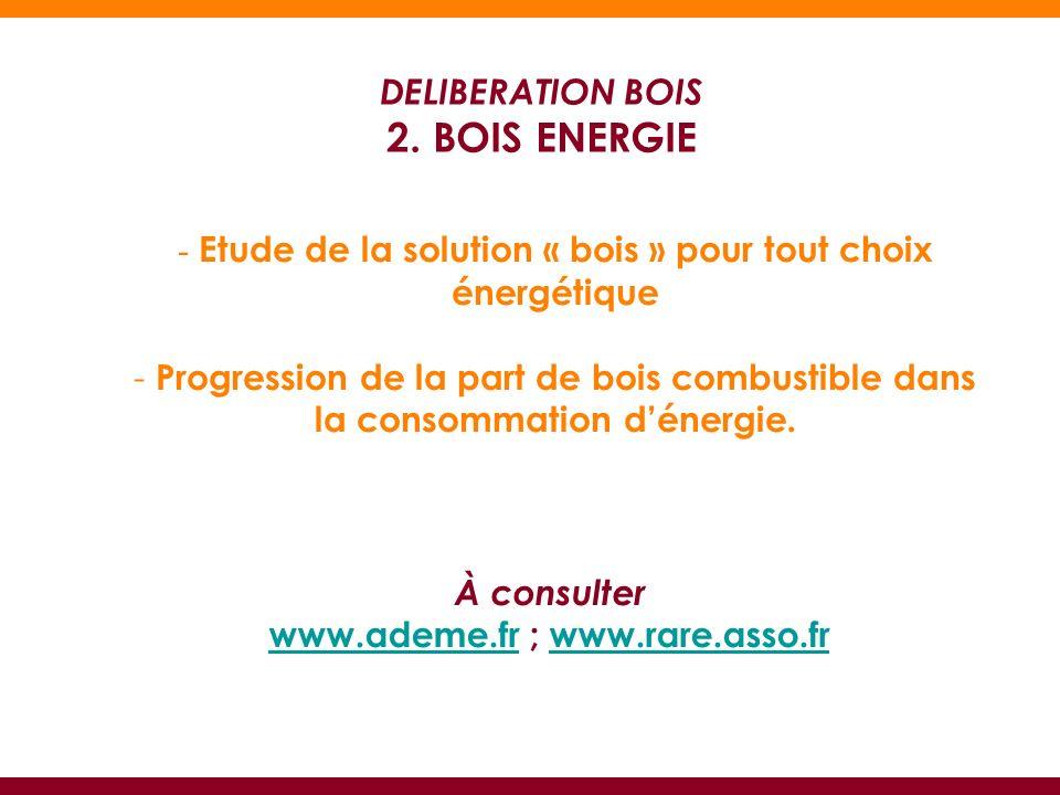 - Etude de la solution « bois » pour tout choix énergétique - Progression de la part de bois combustible dans la consommation dénergie.