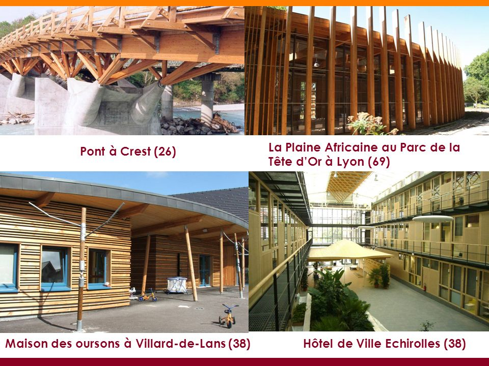 La Plaine Africaine au Parc de la Tête dOr à Lyon (69) Pont à Crest (26) Maison des oursons à Villard-de-Lans (38)Hôtel de Ville Echirolles (38)