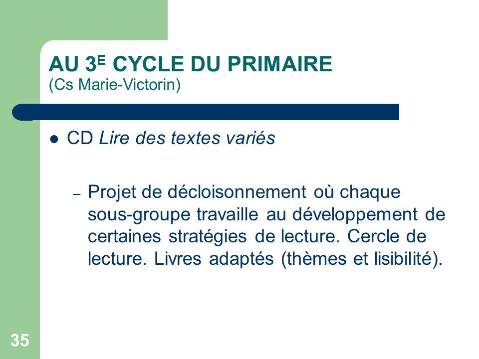 34 AU 3 E CYCLE DU PRIMAIRE (Cs Val-des-Cerfs) CD Résoudre une situation-problème mathématique – – Développement dun référentiel commun pour tous les