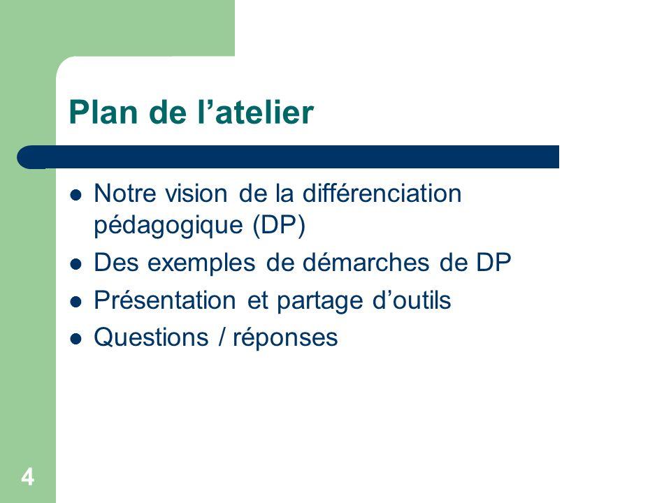 3 Nos intentions Expliquer notre vision de la différenciation pédagogique (DP) Présenter et illustrer des démarches de DP vécues dans nos milieux Part
